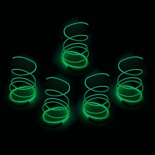 Blazing Fun Shapable EL Wire, Neon Glowing Super Bright LED Cable/EL Wire with AA Battery Inverter for Halloween Christmas Party DIY Decoration, 5 by 1 Meter(Green)