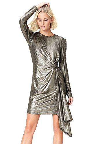 Marque Amazon – find. Robe de Soirée Métallisée avec Drapé Femme