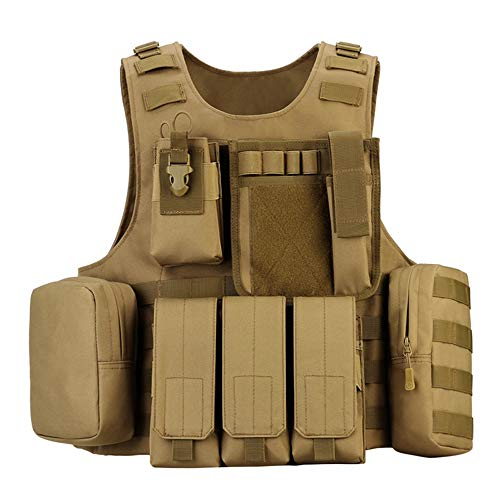 outdoor plus Coyote Tactical Vest Airsoft Tactical Vest-Suitable for Paintball Secret Service Operations and Military Fans 1000D Airsoft Vest from outdoor plus