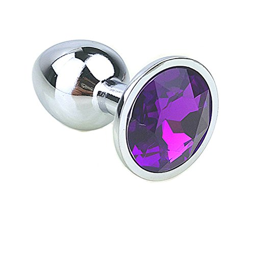 12 Colors Metal Anal Sex Toys for Women & Men, Anal Butt Plugs + Crystal Jewelry, Booty Beads,Anal Tube, Sex Products Purple