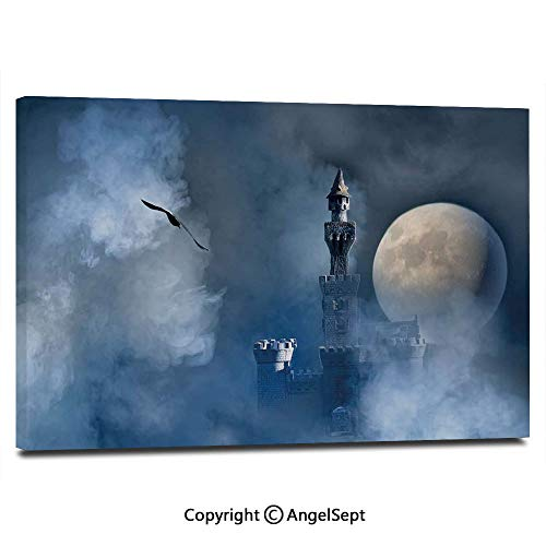 Canvas Prints Modern Art Framed Wall Mural Castle on Clouds at Moon Night Scary Gothic Fiction Medieval Mythology Evil Graphic Wall Decorations for Living Room Bedroom Dining Room Bathroom Office,Da ()