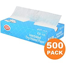 500 Interfolded Food and Deli Dry Wrap Wax Paper Sheets with Dispenser Box, 8 x 10.75 Inch [500 Pack]