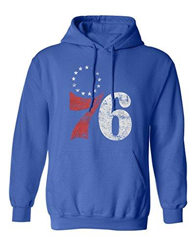 BTA Apparel Worn Sixers - 76 Men's Hoodie Sweatshirt (Royal,l) ()