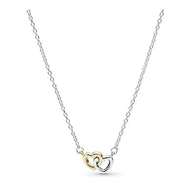7070127de8302a Amazon.com: PANDORA United In Love Necklace, Two Tone - Sterling ...