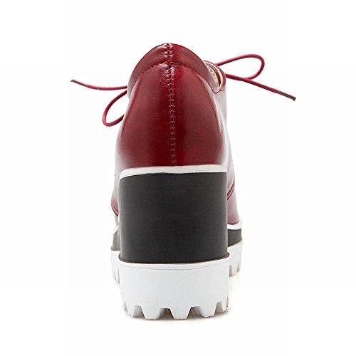 Carolbar Womens Lace up Fashion Retro Vintage Platform Wedge Heel Oxfords Shoes Wine Red M1LCU