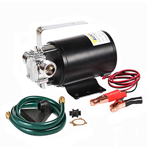 Trupow DC 12-Volt 1/10HP 330GPH Battery Powered Mini Portable Electric Utility Sump Transfer Water Pump with Water Hose Kit