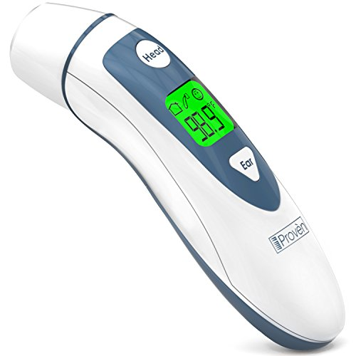 (Medical Digital Ear Thermometer with Temporal Forehead Function For Baby, Infant and Kids - Upgraded Tympanic Fever Scan Lens Technology for Better Accuracy - New 2018 - Thermometers iProven DMT-489WG)