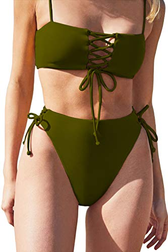 QINSEN High Waisted Bathing Suit Plus Size Lace Up Tie Side Bandage 2PCS Swimsuit Summer Outfit Army Green XL
