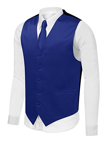 Azzurro Men's Dress Vest Set Neck Tie, Hanky for Suit or Tuxedo M,Royal Blue