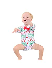 2Pcs Baby Rompers,Matoen Infant Handsome Boy Deer Bow Tie Romper Christmas Outfits