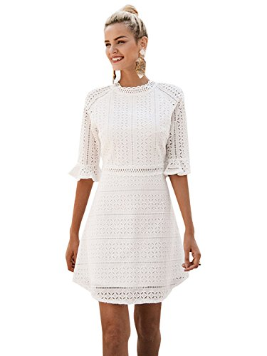 Simplee Women's Half Sleeve Elegant Hollow Out Party Lace A Line Mini Dress Gown, White, 0/2, Small