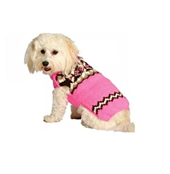 Amazon.com : Chilly Dog Pink Aspen Fair Isle Dog Sweater, X-Large ...