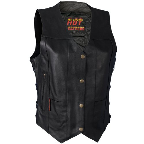 Hot Leathers Ladies Ten Pocket Leather Vest (Black, XX-Large)