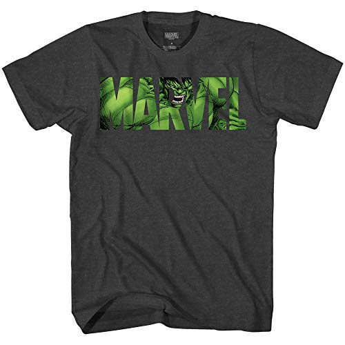 - Marvel Logo Hulk Avengers Super Hero Adult Men's Graphic Tee T-Shirt Apparel (Charcoal Heather, X-Large)