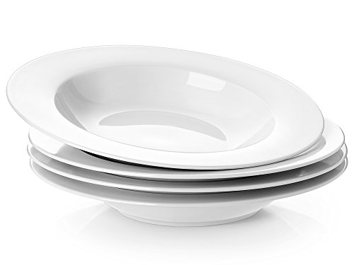 Y YHY 8.25 Inches Porcelain Soup Bowls, Rim Bowl Set, White, Set of 4 (4 Rimmed Soup Bowls)