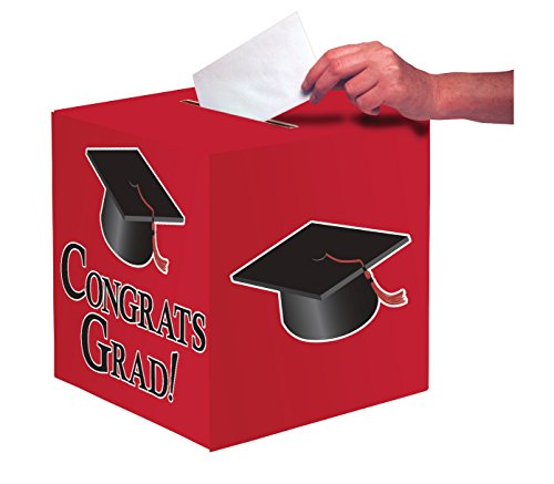 Creative Converting Congrats Grad Card Holder Box, Classic Red - 083311 -