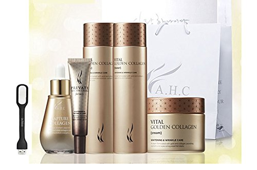 [AHC] Golden Collagen 5ea Set (Golden Collagen Toner+Lotion+Cream+ Private real eye Cream+ Capture Collagen Ampoule) + Ochloo logo tag (Collage Tags)