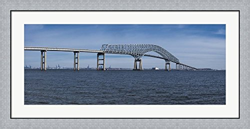 Bridge across a river, Francis Scott Key Bridge, Patapsco River, Baltimore, Maryland, USA by Panoramic Images Framed Art Print Wall Picture, Flat Silver Frame, 44 x 20 inches