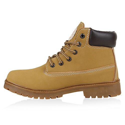 Stiefelparadies Unisex Damen Herren Worker Boots Outdoor Schuhe Schnürstiefel Flandell Hellbraun Avion