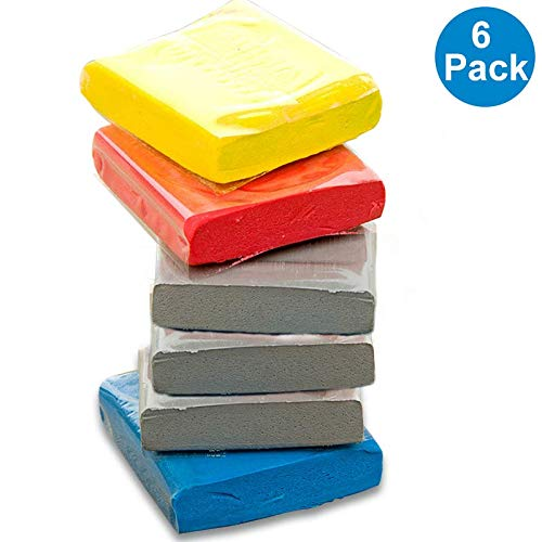 Knead Erasers, Drawing Art Kneaded Erasers, Large Kneaded Rubber Erasers for Drawing, Charcoal, Pastels-Moldable Putty Rubber, No Smudge Eraser, Sketching Supplies for Artists-6 Pack (Assorted Colors)