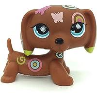 N/N Littlest Pet Shop, LPS Toy Brown Dachshund Dog Puppy Tattoo Butterfly Blue Eyes
