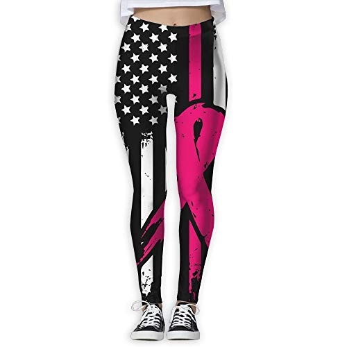 (QQMIMIG Women Full Length Wire-Free Pants Pink Ribbon Breast Cancer Awareness Flag 1 Yoga Leggings)