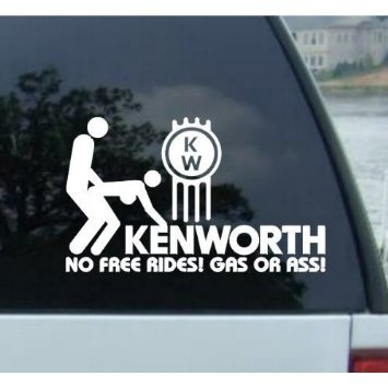Car sticker bumper decal no free rides 177 mm kenworth for laptop