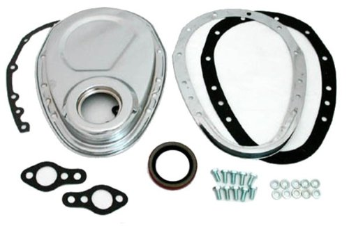 1955-65 Compatible/Replacement for CHEVY SMALL BLOCK 283-305-327-350-400 STEEL 2-PIECE TIMING CHAIN COVER SET - CHROME