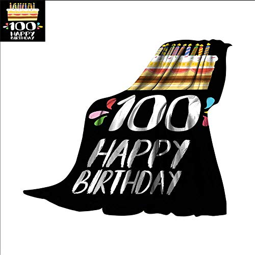 smallbeefly 100th Birthday Digital Printing Blanket Old Legacy 100 Birthday Party Cake Candles on Black Major Milestone Backdrop Summer Quilt Comforter 90