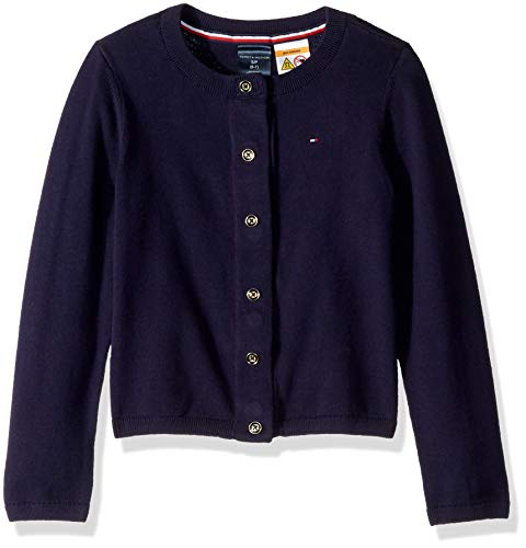 Tommy Hilfiger Girls' Adaptive Cardigan with Magnetic Buttons, Evening Blue S (Tommy Hilfiger Women Cardigan)
