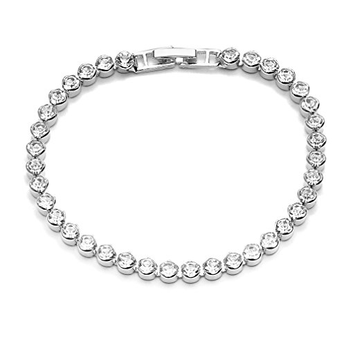Diamond Modern Tennis Bracelet - Weiy Tennis Bracelet with Cubic Zirconia Artificial Diamond Eternity Bracelet Single Row Simple Modern Elegance Buckle Chain for Women Birthday Gift,Silver16
