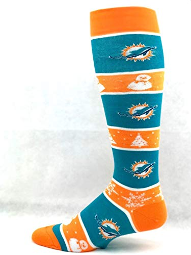 - For Bare Feet NFL Miami Dolphins Snowman Winter Primary Thin Long Socks - Size Medium