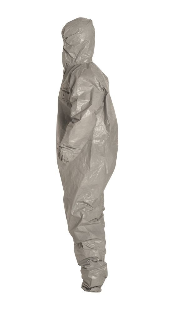 Dupont Tychem F SafeSPEC Coverall with Respirator Fit Hood, Elastic Wrists and Ankles, Taped Seam, Storm Flap, Grey [Price is per Each] (X-Large) by Tychem (Image #5)