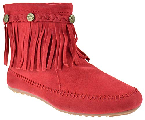 Nature Breeze Cherokee 01 Womens Fringe Moccasin Ankle Booties Red 7]()