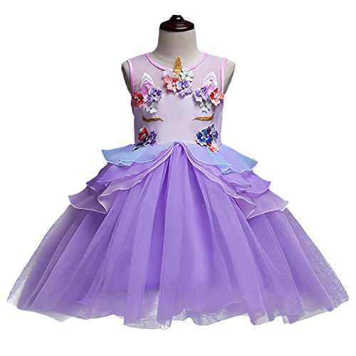 228526057eaa Girls Unicorn Dress up Costume Princess Dressing Gown Tutu Skirt Headband Birthday  Party Outfits for Kids