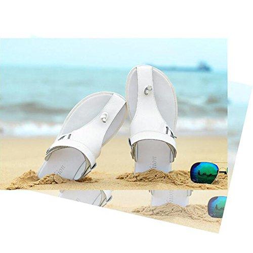 Angelliu Hombres Casual Leather Summer Beach Chanclas Sandalias Zapatillas Blancas