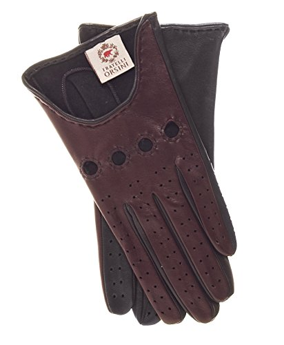 Fratelli Orsini Women's Italian Two-tone Leather Driving Gloves Size 7 1/2 Color Oxblood/Black - Two Tone Leather Gloves