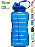 Venture Pal Large 1 Gallon/128 OZ Motivational BPA Free Leakproof Water Bottle with Straw & Time Marker Perfect for Fitness Gym Camping Outdoor Sports-Deep Blue
