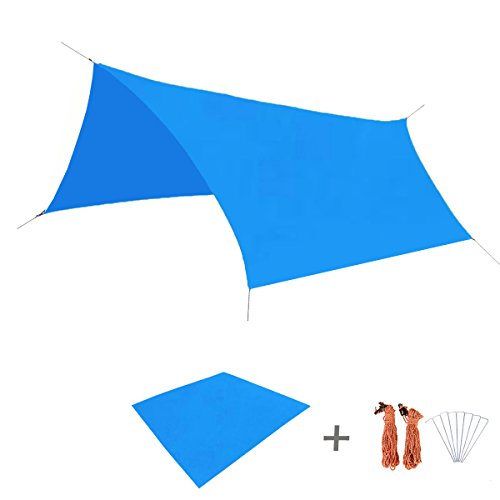TRIWONDER Waterproof Hammock Rain Fly Tent Tarp Footprint Camping Shelter Ground Cloth Sunshade Mat for Outdoor Hiking Beach Picnic (Blue, M+Accessories)