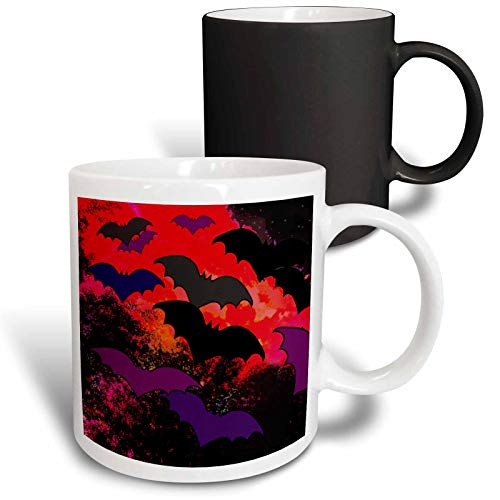 3dRose BlakCircleGirl - Halloween - Bats In Flight - Bats flying into the night from trees and clouds - 11oz Magic Transforming Mug (mug_286882_3)