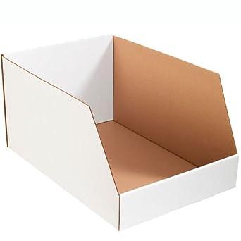 White Tape Logic TLBINJ61810 Jumbo Open Top Bin Boxes Pack of 25 6 x 18 x 10