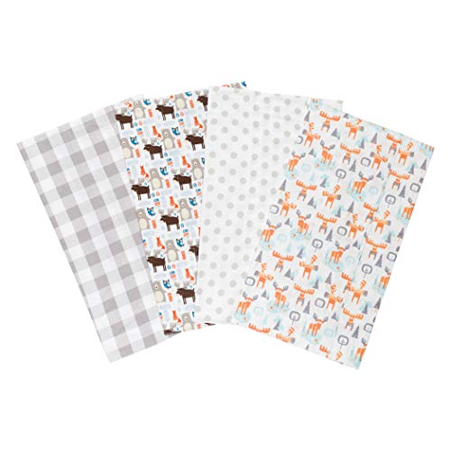 Trend Lab Scandi Cocoa Flannel Burp Cloth Set, 4 Piece -