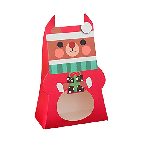 BELUPAID Christmas Cupcake Boxes,40 Pcs Green Creative Cartoon Bear Christmas Baking Boxes Candy Biscuit Case Christmas Eve Xmas Party Bags Gift ()