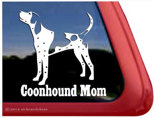 Coonhound Mom   Bluetick Coonhound Vinyl Dog Decal Auto Truck Tablet Laptop Sticker