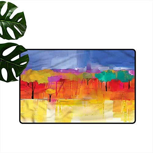 (Interior Door mat Abstract Impressionist Landscape Super Absorbent mud W35 xL59 )