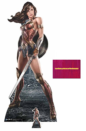 Fan Pack - Wonder Woman holding Sword and Shield Lifesize and Mini Cardboard Cutout / Standup / Standee - Includes 8x10 Star Photo