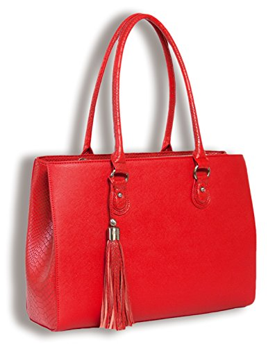 - BFB Laptop Tote Bag for Women - Luxury Designer Computer Bag - Handmade Vegan Leather Laptop Shoulder Bag Multi-Pocket 13 Inch Computer Purse Laptop Handbag Carry on Bag - Travel Bags Women - RED