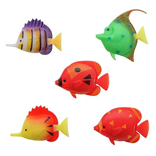 (WSSROGY 20pcs Artificial Plastic Moving Floating Fishes Ornament Decorations for Aquarium Fish Tank(Random Color Pattern))