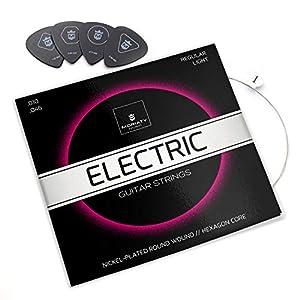 MORIATY® E-Gitarren-Saiten – Premium Stahl-Nickel E-Gitarren Saiten (7 Saiten-Set) | INKLUSIVE: 4 Plektren + Extra hohe…