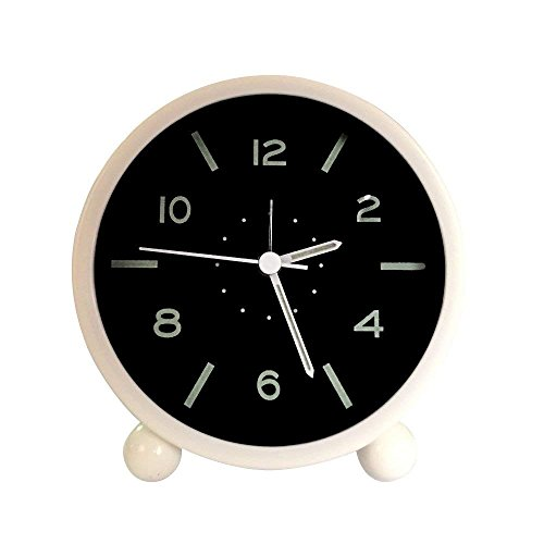 Precision Quartz Movement - Harryup Non Ticking Alarm Clock, Battery Powered Bedside Clock Silent Simple to Set Travel Clocks with Nightlight,Precision Quartz Movement